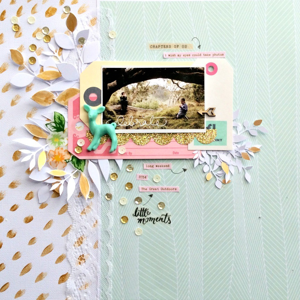 cat123 pour com.16 - page little moments - vert, blanc et or - collection bertille -